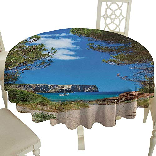 Cranekey Tablecloth 60 Inch Beach,View on Cala Algaiarens from Sand Pathway Cliff in Water Menorca Island Europe Theme,Multicolor Great for,Holiday & More ()
