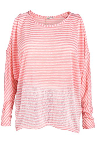 Italienische Mode - Camisas - Túnica - Rayas - para mujer Lachs-Ecru