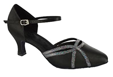TDA Women s Round Toe Single Strap Glitter Black Satin Latin Dance Pumps  Wedding Shoes 4 M d2685ac9c94a