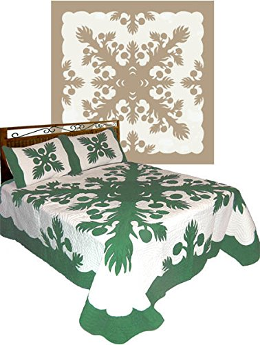 Hawaiian hand Quilted Comforter Set with 2 Pillow Shams Queen 102x100 size 100% Cotton - breadfruit Sage green by Under the Hala