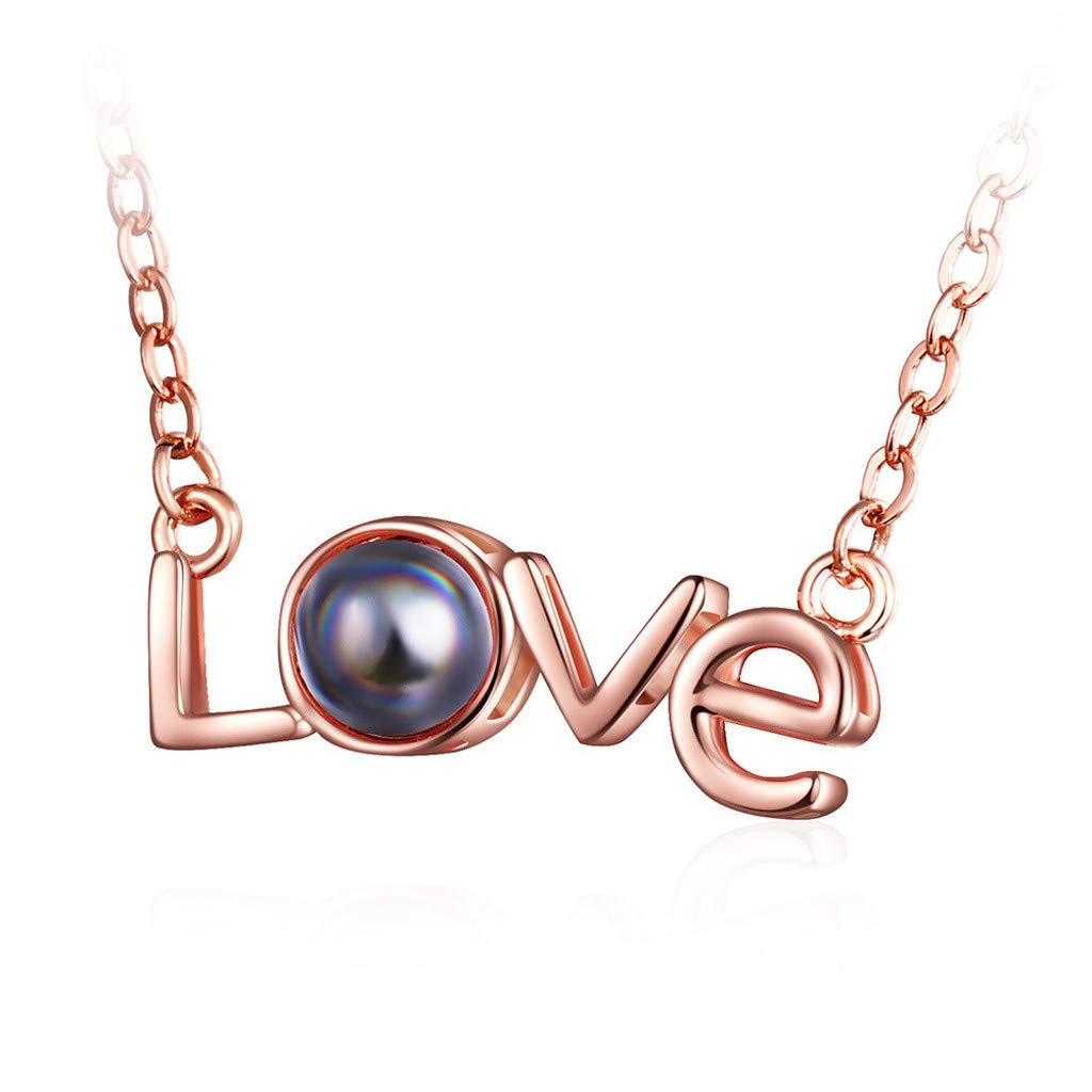 Toponly I Love You Necklace, 925 Sterling Silver 100 Languages Projection on Round Onyx Pendant Loving Memory Collarbone Necklace 1 Pcs