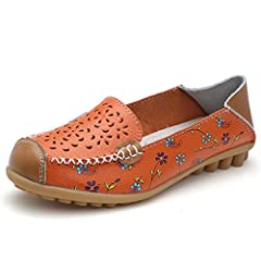 Women's Leather Flat Shoes Hollow Out Floral Print Casual Slip-On Driving Loafers