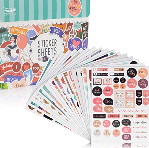 Beautiful Daily Planner Stickers 20 Sheets 974 Stickers - Stunning Design Accessories Enhance and Simplify Your Weekly Planner Or Monthly Journal