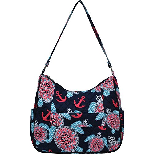 Sea Turtle Anchor Print NGIL Quilted Hobo Fashion Bag