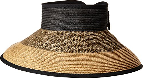 San Diego Hat Company Women's UBV038 Roll Up Visor with Bow Closure Mixed Natural One Size (Company Top Hat)