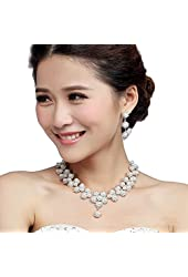 Miraculous Garden Luxury Silver Plated Rhinestone Faux Pearl Necklace Earrings Jewelry Sets for Wedding Bridal Party
