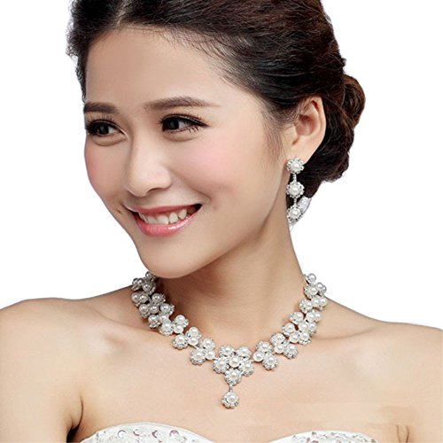 Faux Rhinestone Necklace - Miraculous Garden Luxury Silver Plated Rhinestone Faux Pearl Necklace Earrings Jewelry Sets for Wedding Bridal Party