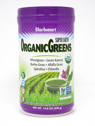 BlueBonnet Super Earth Organic Greens Powder, 14.8 Ounce
