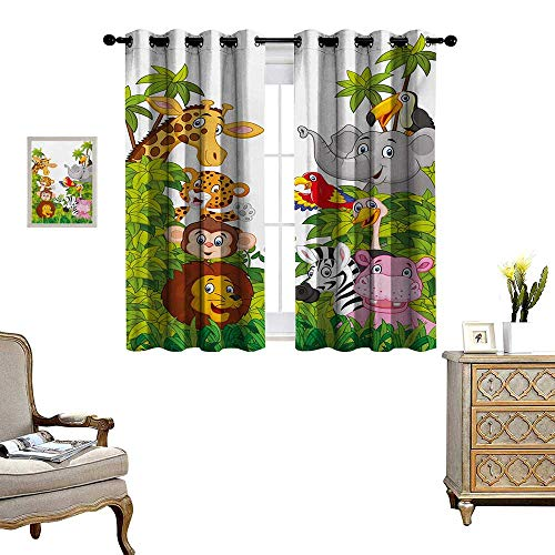 Nursery Window Curtain Drape Cartoon Style Zoo Animals