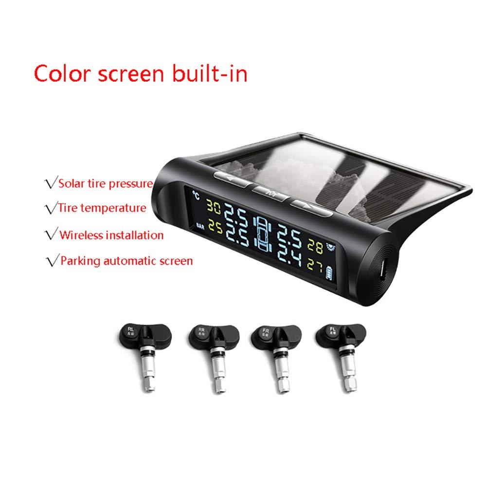 Control inal/ámbrico presi/ón los neum/áticos Pantalla LCD Sistema de Alarma YTBLF Sistema de Control presi/ón los neum/áticos 4 sensores Solar Universal