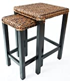BirdRock Home Seagrass Nesting Accent Tables | Hand Woven Seagrass | Fully Assembled For Sale