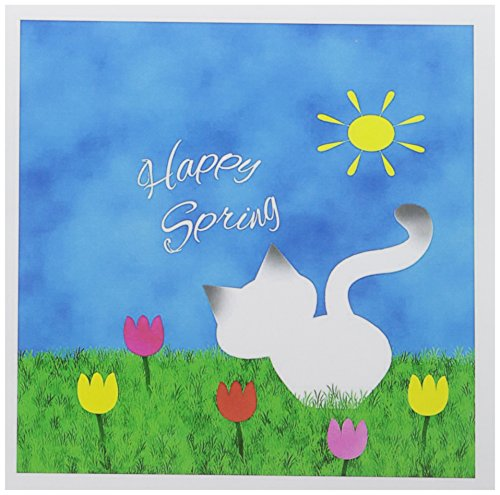 3dRose Greeting Cards, 6 x 6 Inches, Pack of 6, Cute Siamese Kitty Colorful Tulips Happy Spring (gc_182617_1)