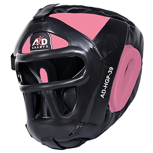 ARD Leather Art MMA Boxing Protector head guard UFC Wrestling helmet head gear (Pink, XL)