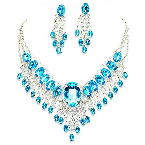 Aqua Blue Rhinestone (Affordable Wedding Jewelry Aqua Blue Clear Rhinestone Cascade Earrings Silver Necklace Set)