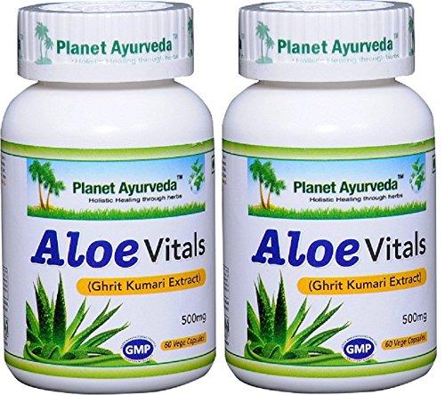 Planet Ayurveda Aloe Vitals, 500 Mg Veg Capsules, 2 Bottles by Planet Ayurveda