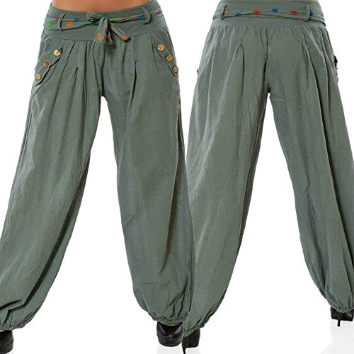 Hippie Pantaloni Pantaloni Eleganti Harem Lanterna Inclusa Fashion Pluderhose Casuali Cintura Pantaloni Estivi Baggy Women Grazioso Di Hipster Aladin Donna Pantaloni Armeegrün Giovane Vintage wxIqTHza