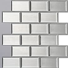 "Ecoart Peel and Stick Self-Adhesive Wall Tile for Kitchen / Bathroom Backsplash in Silver Brick Style, 10"" X 10"" (Pack of 6)"