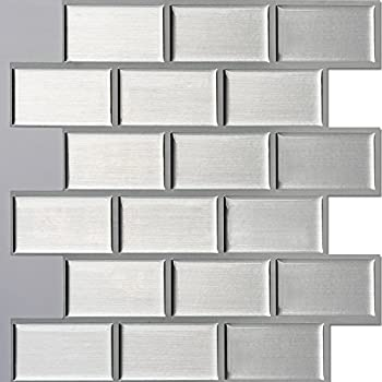 Ecoart Peel And Stick Self Adhesive Wall Tile For Kitchen / Bathroom  Backsplash In Silver