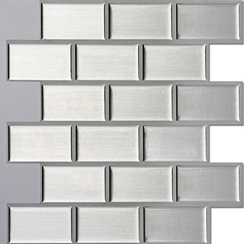 Ecoart Peel and Stick Self-Adhesive Wall Tile for Kitchen / Bathroom Backsplash in Silver Brick Style, 10
