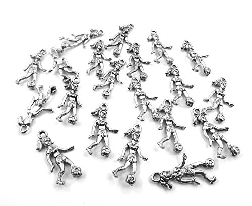 Set of Twenty (20) Silver Tone Pewter Girl Soccer Player ()