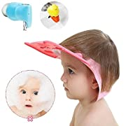 Leak Proof Baby Shower Cap (Pink) Tub Protector Spout Cover (Blue) Sink Faucet Extender (Yellow) 3 Item Set - For Baby Toddler Child & Kid Adjustable Silicone Shampoo Hat Bath Visor Head Shield Rinser