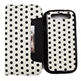 2 in 1 Colorful Polka Dot Travel Wristlet Wallet Clutch Bag Pouch Case Cover with Credit Card Holder for Samsung Galaxy S3 I9300(siii Gt-i9300 - At&t/t -Mobile/sprint/verizon/u.s.cellular) (Color:white with black dot)
