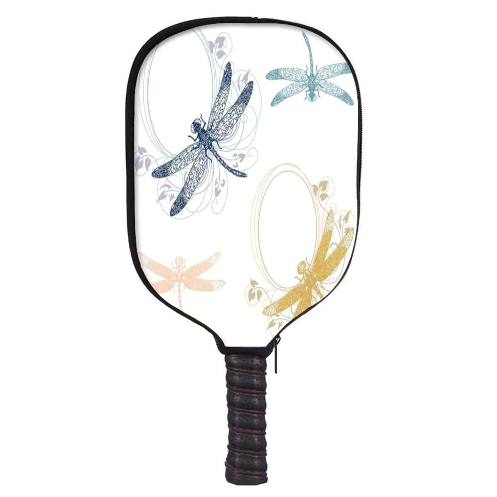 MOOCOM Dragonfly Fashion Racket Cover,Floral Spring Bugs Wings with Flower Petals Animal Nature Elegance Artful Motif Decorative for Playground,8.3'' W x 11.6'' H
