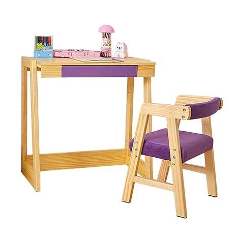 GZW001 Mesa de Estudio para niños de Madera Maciza y Juego ...