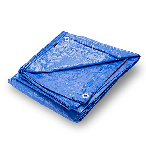 Grizzly Tarps 10 x 14 Feet Blue Multi Purpose Waterproof Poly Tarp Cover 5 Mil Thick 8 x 8 Weave