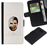 UPPERHAND ( Not For S6 EDGE ) Stylish Image Picture Black Leather Bags Cover Flip Wallet Credit Card Slots TPU Holder Case For Samsung Galaxy S6 SM-G920 - iron superhero suit poster movie