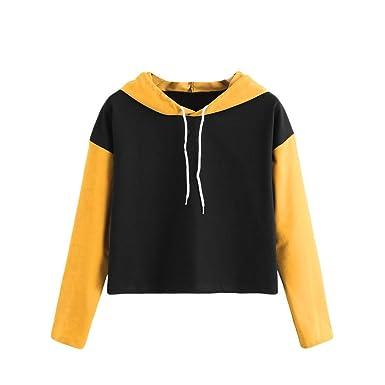 8538b8209ef Women Teen Girls Crop Top Hoodie Sweatshirt Cuekondy Long Sleeve Color Block  Drawstring Short Pullover Blouse