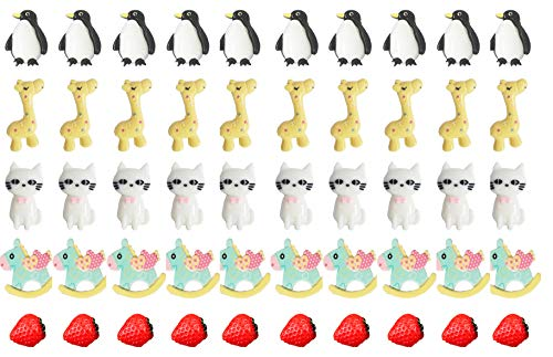50pcs Slime Charms with Strawberry/Giraffe/Cat/Penguin/Horse for Craft Making, Fineder Slime Beads Mix Assort DIY Flatbacks Resin Flat Back Buttons Scrapbooking -