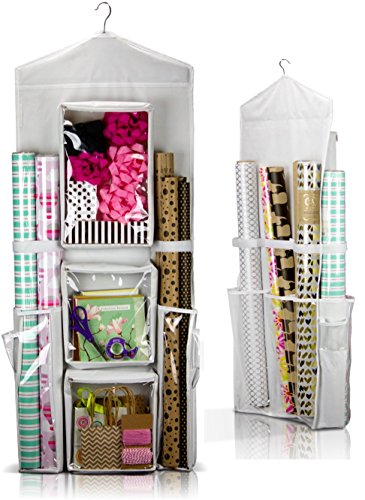 CARRIEBAX Double Sided Wrapping Paper Storage - Easy 42 X 16 Hanging Gift Wrap Storage/Organizer With Large Pockets Fits In Every Closet - Perfect To Organize All Your Wrapping (Organizer Gift)