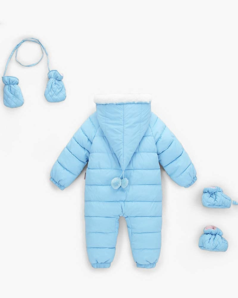 JanLEEsi Baby Boy Girl Winter Hooded Snowsuit Romper Zipper Padding Bodysuit Infant Puffer Jacket with Gloves 3-24 Months