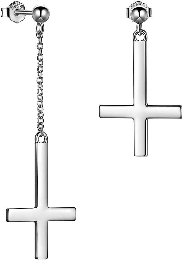 Inverted Cross Earrings Solid 925 Sterling Silver Gold Plated Women Men Unisex Upside-Down Cross Dangle Earrings Stud Satanic Statement Earrings Best Birthday