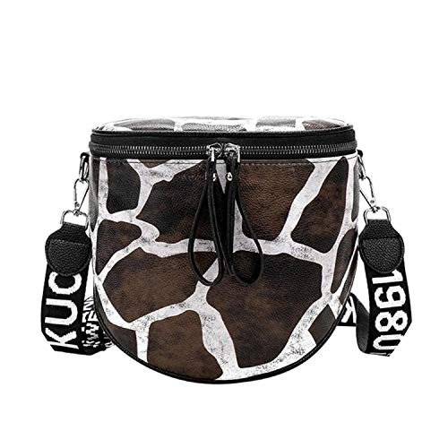 (New Leopard Print Animal Pattern Bucket Women Pu Leather Crossbody Messenger Bags Shoulder Totes Bag,Giraffe Pattern)
