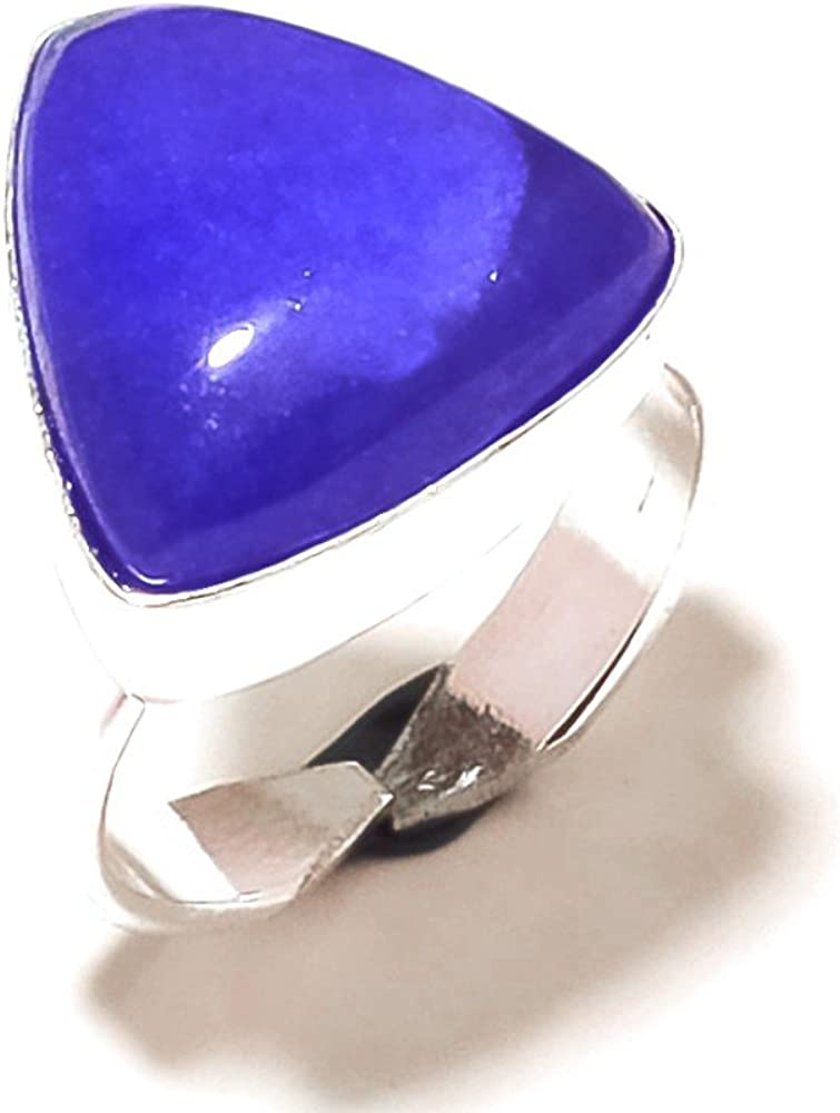 Blue Dyed Sapphire Sterling Silver Overlay Ring Size 7.5 US Inexpensive Sizable Handmade Jewelry