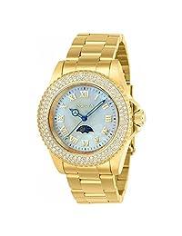 Invicta Women's Sea Base Gold-Tone Steel Bracelet & Case S. Sapphire Quartz White Dial Analog Watch 23830