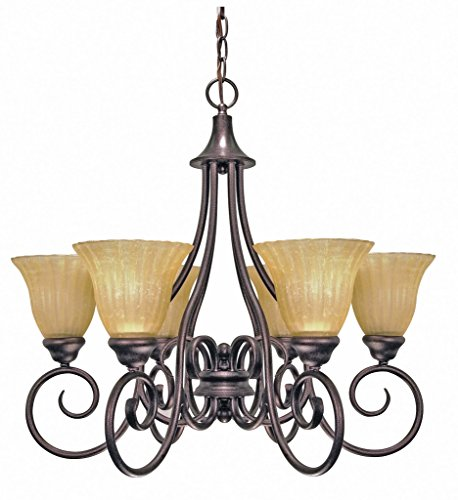 Nuvo Lighting 60 2403 Moulan 6 Light Chandelier With Champagne Linen Glass  Copper Bronze