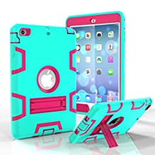iPad Mini 3 Case, iPad Mini 2 Case, iPad Mini Case, Asstar 3 in 1 Hybrid Heavy Duty Shockproof Impact Resistant Armor Kickstand Defender Protection Case for iPad Mini 3/2 (Mint pink)