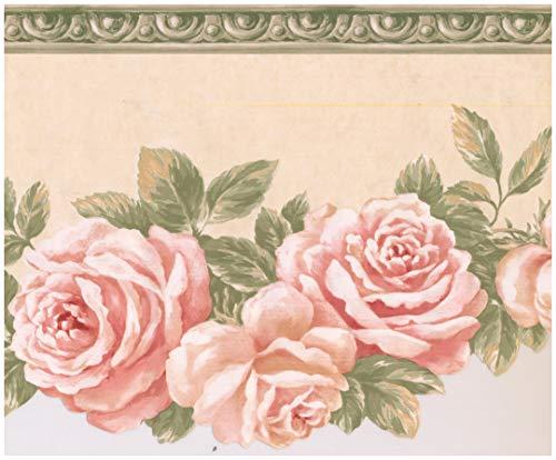 Prepasted Wallpaper Border - Bloomed Roses on Vine Scalloped Beige Wall Border Retro Design, Roll 15 ft. x 9 ()