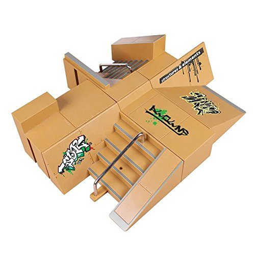 Wilsea 8pcs Skate Park Kit Ramp Parts for Tech Deck Fingerboard Mini Finger Skateboard Fingerboards Ultimate Parks