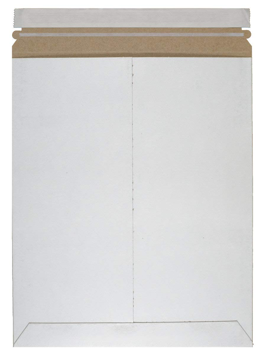 Rigid Mailers 13x18 Paperboard mailers 13 x 18 by Amiff. Pack of 10 white photo mailers. Stay Flat mailers. No bend, Self sealing. Documents cardboard envelopes. Mailing, shipping, packaging, packing.
