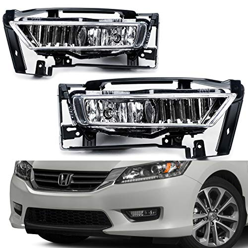 TC Sportline LA-HOAC1301CL-W OE Style Pair Clear Lens Front Bumper Driving Fog Lights Lamp with Switch Wire - For 2013-2015 Honda Accord Sedan 4Dr