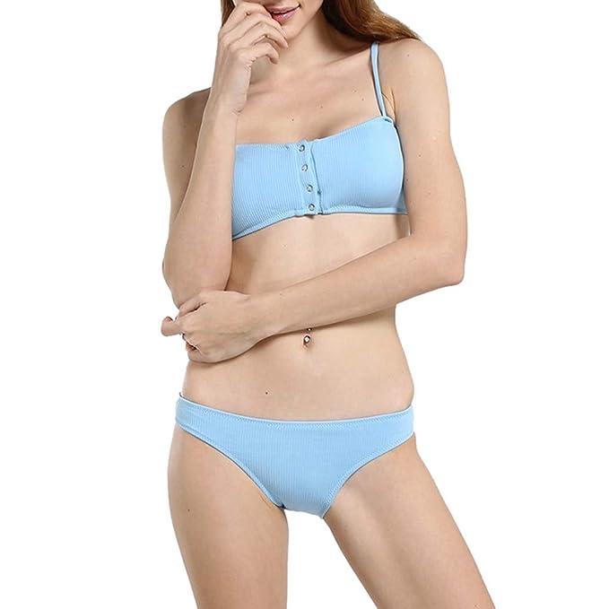 Sólido Mujer,color Traje Botón Baño De Bikini Dividido uK3TJlF1c5