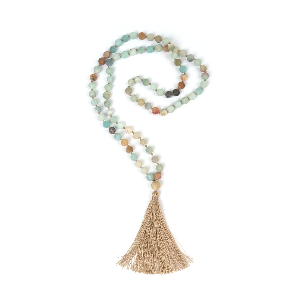 Shinus OKIKO 108 Mala Beads Necklace Tassel Long Boho Statement for Women Yoga Meditation Gemstone Amazonite Jewelry