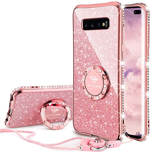 OCYCLONE Galaxy S10 Plus Case, Glitter Cute Phone Case for Women Girls with Kickstand, Bling Diamond Rhinestone Bumper Ring Stand Compatible with Galaxy S10 Plus Case for Girl Women - Rose Gold [Pink]