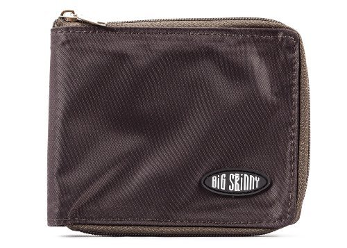 Big Skinny Men's Zippered Bi-Fold Slim Wallet, Holds Up to 25 Cards, Brown (Best Way To Beat Slot Machines)