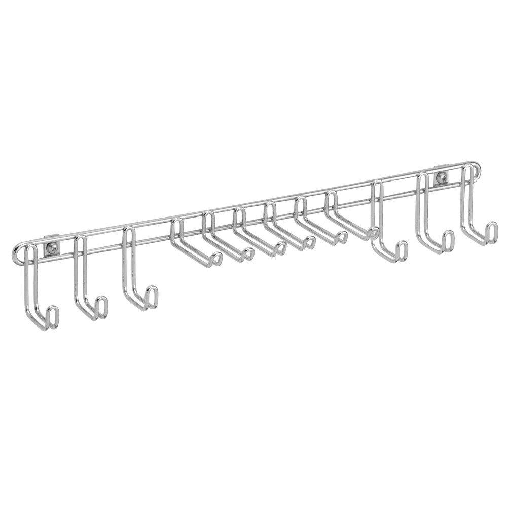 InterDesign Classico Wall Mount Closet Organizer Rack for Ties, Belts - Chrome