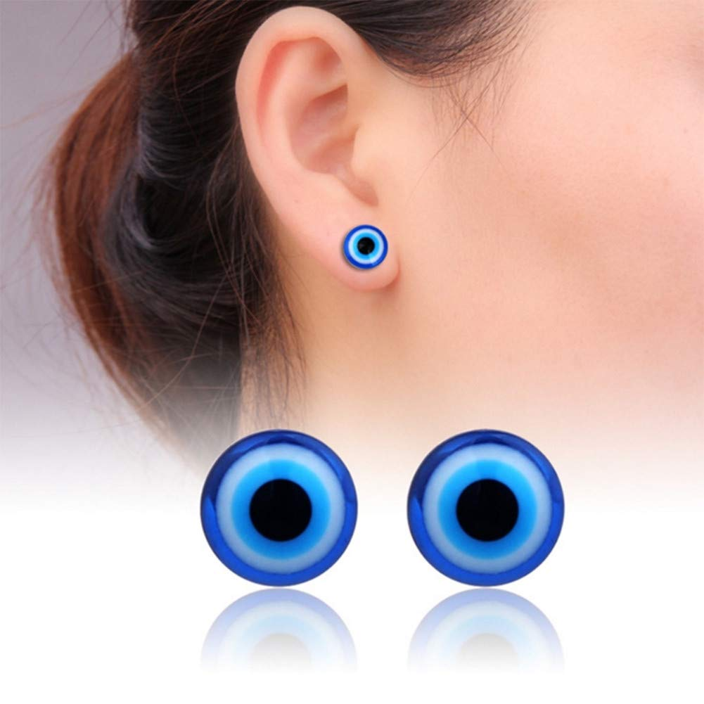 Lottoy 1 Pair Unisex Weight Loss Blue Eyes Shape Ear Stud, Healthy Magnetic Therapy Earrings 10mm, No Piercing